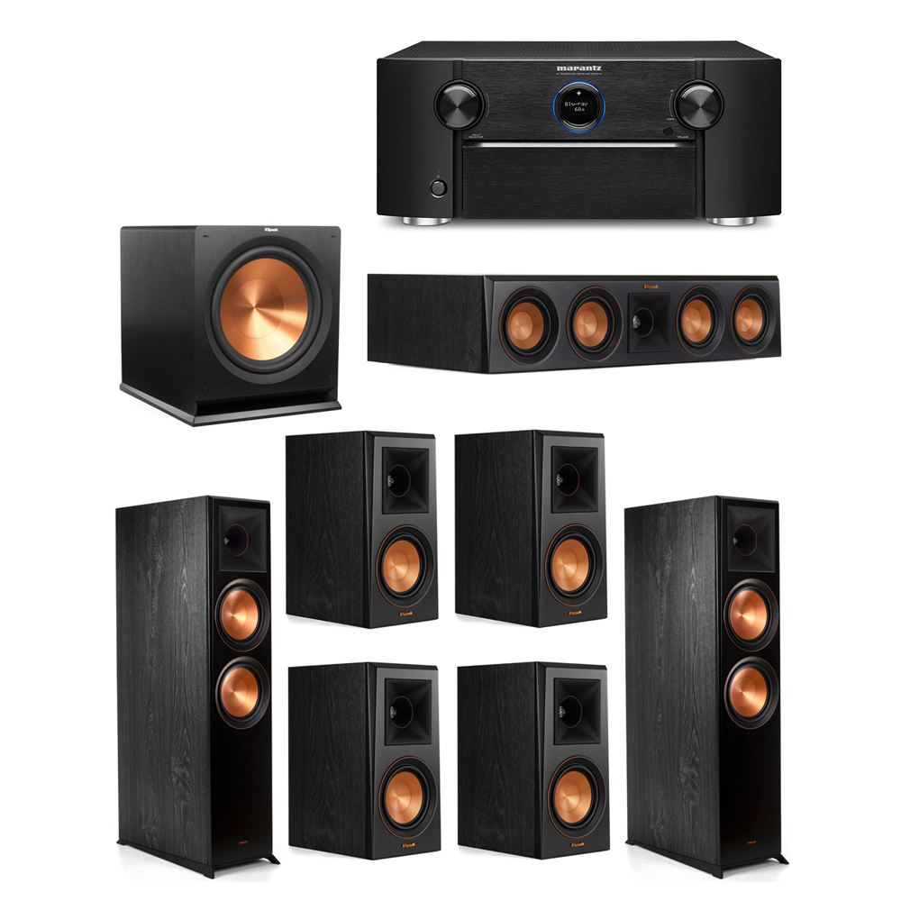 Klipsch 7.1 System with 2 RP-8000F Floorstanding Speakers, 1 Klipsch RP-404C Center Speaker, 4 Klipsch RP-500M Surround Speakers, 1 Klipsch R-115SW Subwoofer, 1 Marantz SR7012 A/V Receiver