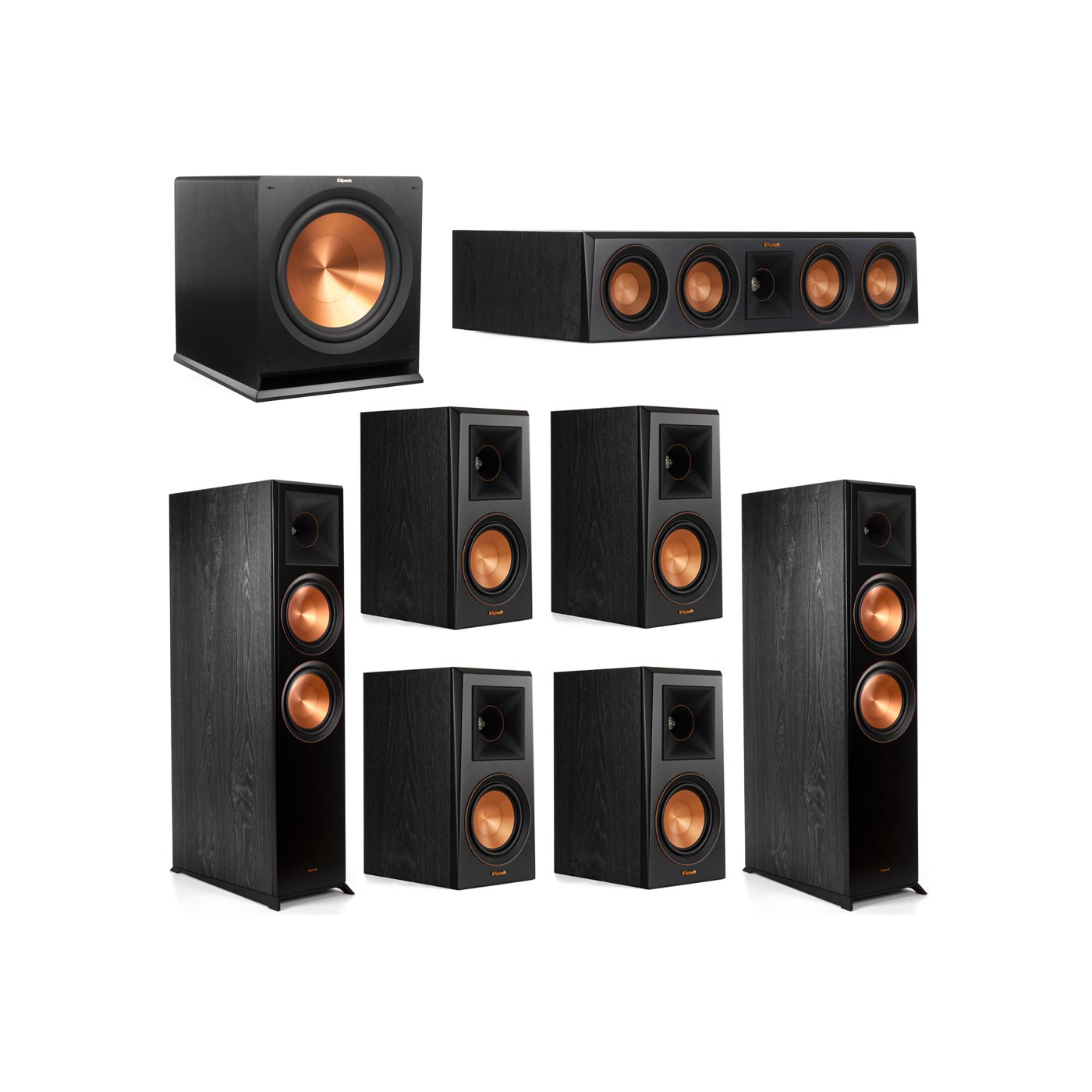 Klipsch 7.1 System with 2 RP-8000F Floorstanding Speakers, 1 Klipsch RP-404C Center Speaker, 4 Klipsch RP-500M Surround Speakers, 1 Klipsch R-115SW Subwoofer