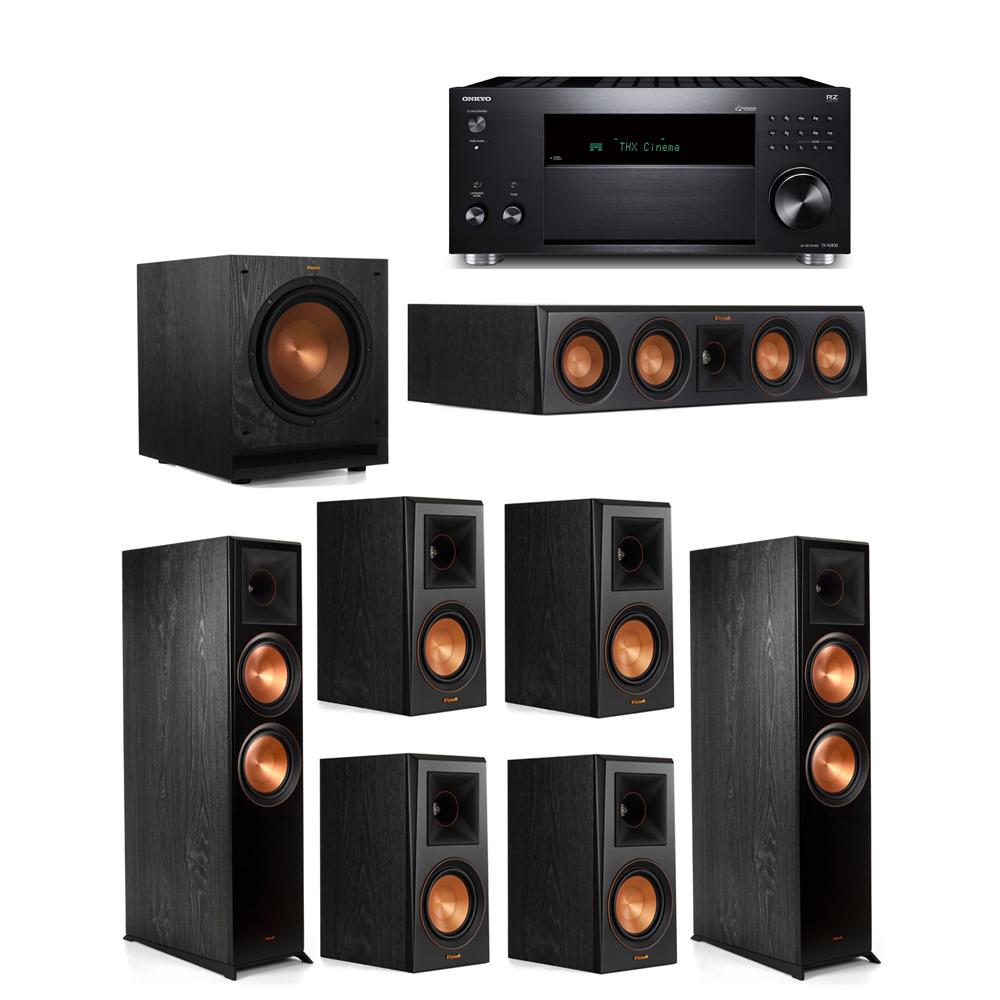 Klipsch 7.1 System with 2 RP-8000F, 1 RP-404C, 4 RP-500M, 1 SPL-100, 1 Onkyo TX-RZ830 Receiver