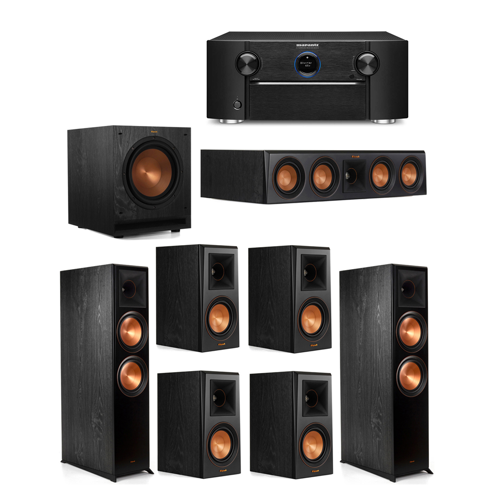 Klipsch 7.1 System with 2 RP-8000F Floorstanding Speakers, 1 Klipsch RP-404C Center Speaker, 4 Klipsch RP-500M Surround Speakers, 1 Klipsch SPL-100 Subwoofer, 1 Marantz SR7012 A/V Receiver