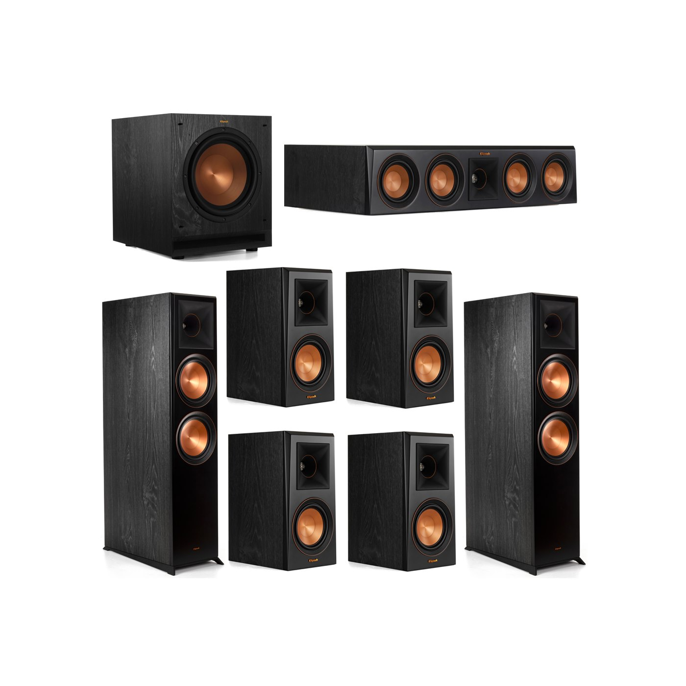 Klipsch 7.1 System with 2 RP-8000F Floorstanding Speakers, 1 Klipsch RP-404C Center Speaker, 4 Klipsch RP-500M Surround Speakers, 1 Klipsch SPL-100 Subwoofer