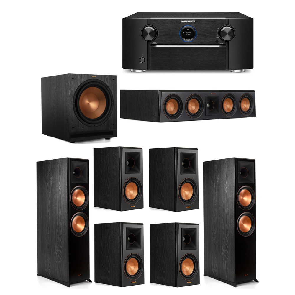 Klipsch 7.1 System with 2 RP-8000F Floorstanding Speakers, 1 Klipsch RP-404C Center Speaker, 4 Klipsch RP-500M Surround Speakers, 1 Klipsch SPL-120 Subwoofer, 1 Marantz SR7012 A/V Receiver