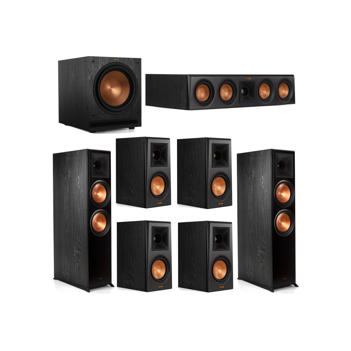 Klipsch 7.1 System with 2 RP-8000F Floorstanding Speakers, 1 Klipsch RP-404C Center Speaker, 4 Klipsch RP-500M Surround Speakers, 1 Klipsch SPL-120 Subwoofer