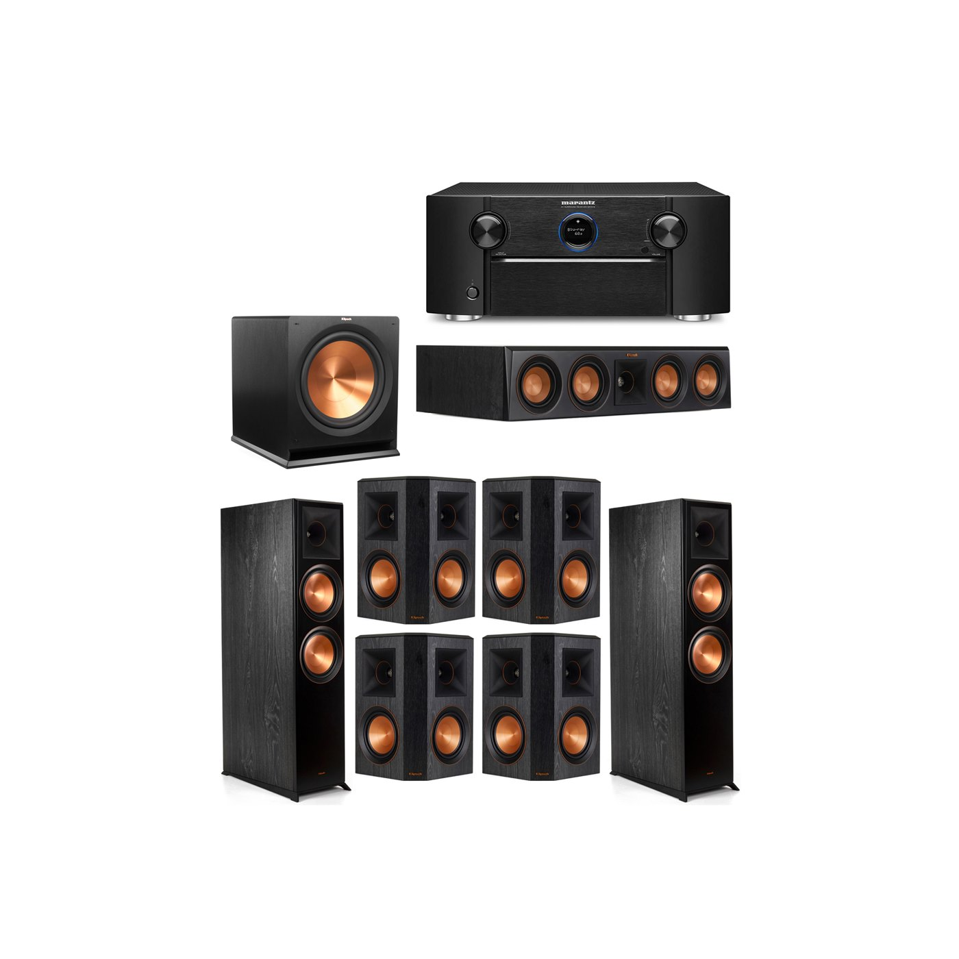 Klipsch 7.1 System with 2 RP-8000F Floorstanding Speakers, 1 Klipsch RP-404C Center Speaker, 4 Klipsch RP-502S Surround Speakers, 1 Klipsch R-115SW Subwoofer, 1 Marantz SR7012 A/V Receiver