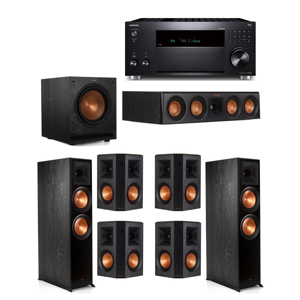Klipsch 7.1 System with 2 RP-8000F, 1 RP-404C, 4 RP-502S, 1 SPL-100, 1 Onkyo TX-RZ830 Receiver