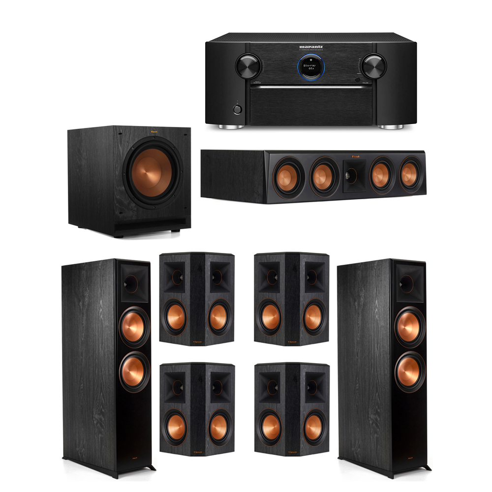 Klipsch 7.1 System with 2 RP-8000F Floorstanding Speakers, 1 Klipsch RP-404C Center Speaker, 4 Klipsch RP-502S Surround Speakers, 1 Klipsch SPL-100 Subwoofer, 1 Marantz SR7012 A/V Receiver