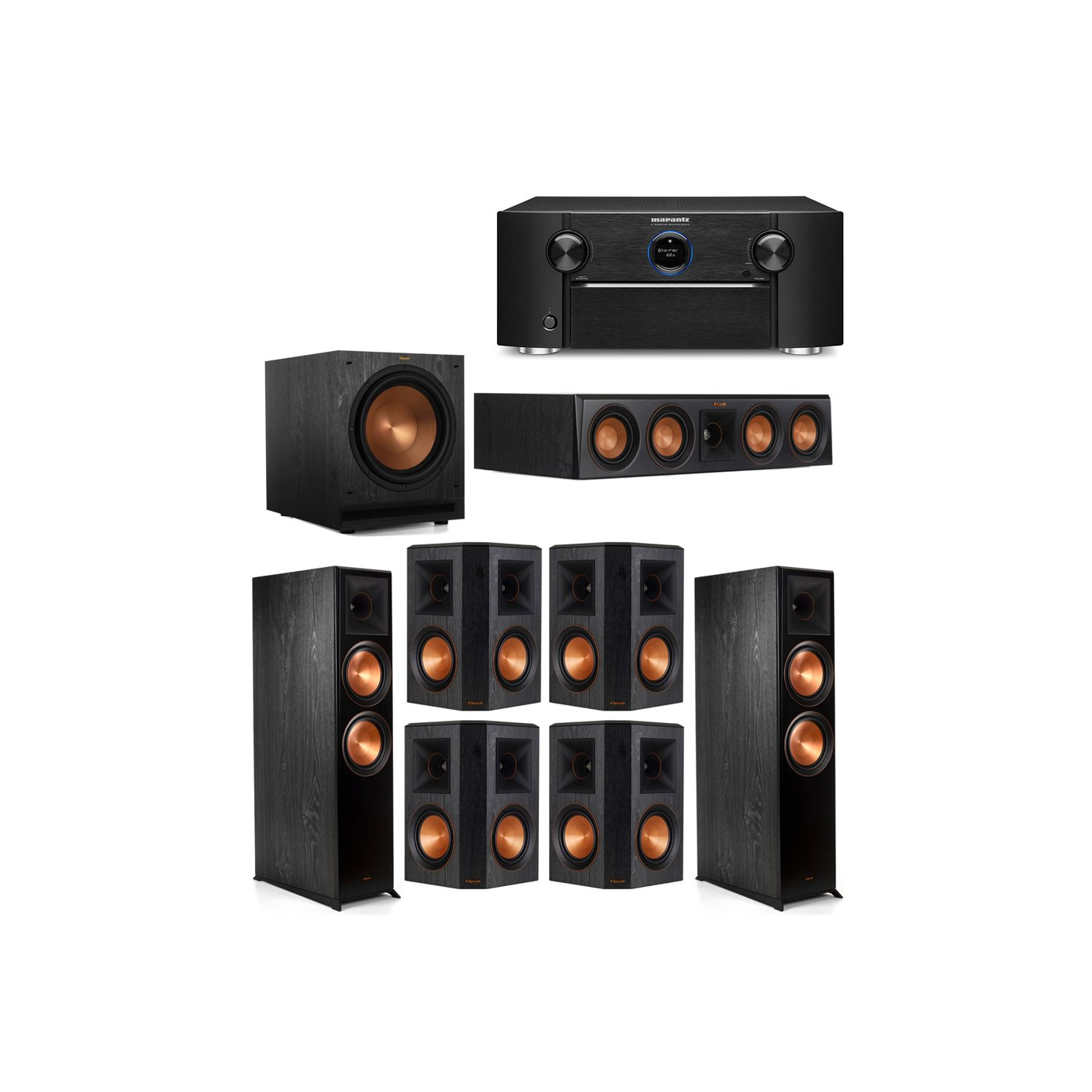 Klipsch 7.1 System with 2 RP-8000F Floorstanding Speakers, 1 Klipsch RP-404C Center Speaker, 4 Klipsch RP-502S Surround Speakers, 1 Klipsch SPL-120 Subwoofer, 1 Marantz SR7012 A/V Receiver