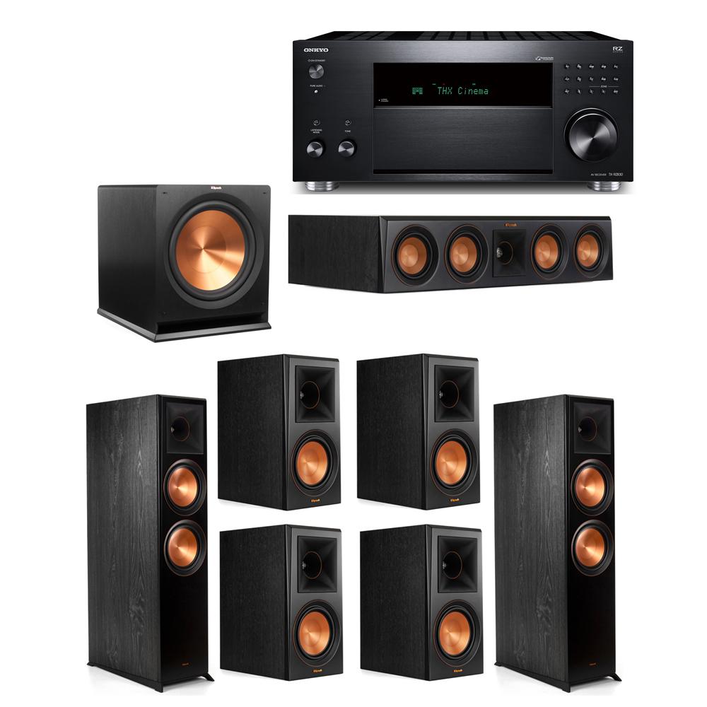 Klipsch 7.1 System with 2 RP-8000F, 1 RP-404C, 4 RP-600M, 1 R-115SW,  1 Onkyo TX-RZ830 Receiver