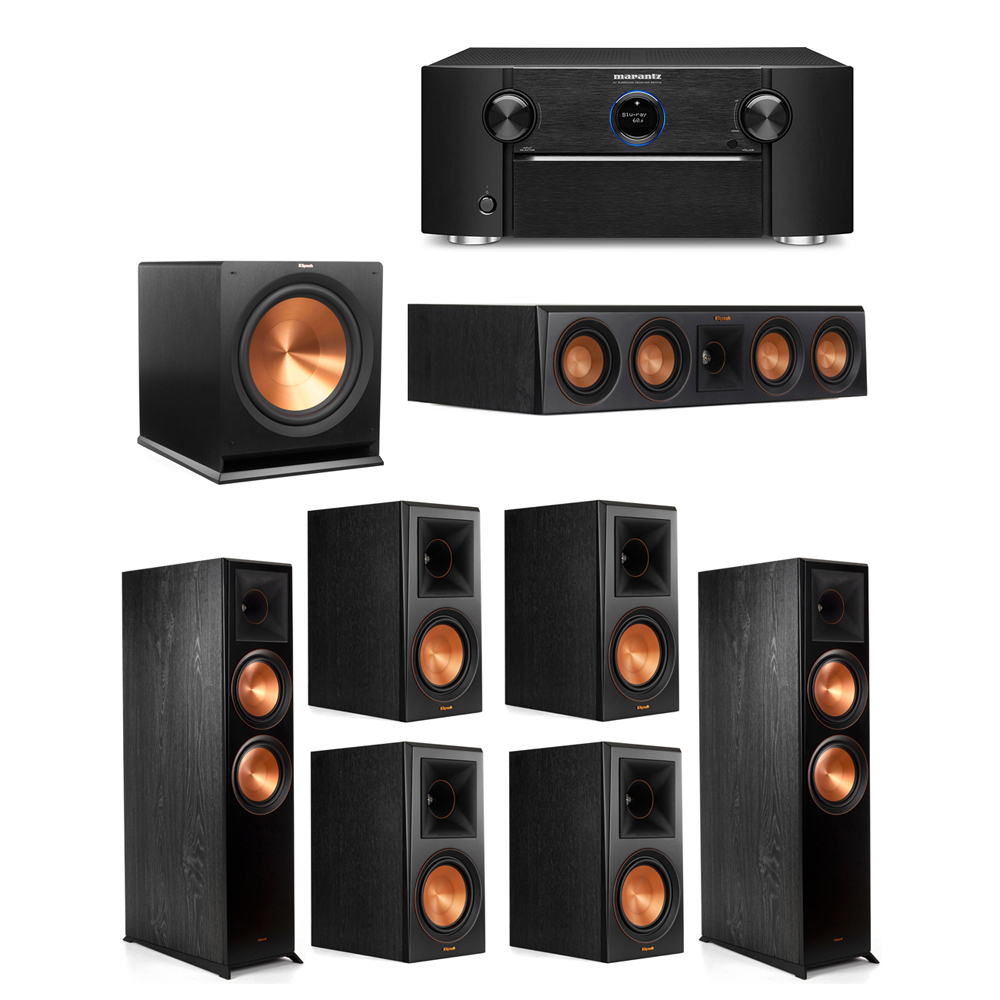 Klipsch 7.1 System with 2 RP-8000F Floorstanding Speakers, 1 Klipsch RP-404C Center Speaker, 4 Klipsch RP-600M Surround Speakers, 1 Klipsch R-115SW Subwoofer, 1 Marantz SR7012 A/V Receiver