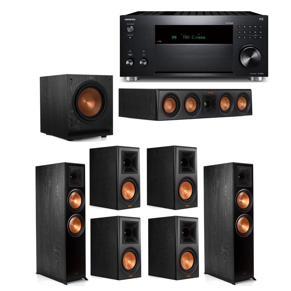 Klipsch 7.1 System with 2 RP-8000F, 1 RP-404C, 4 RP-600M, 1 SPL-100, 1 Onkyo TX-RZ830 Receiver
