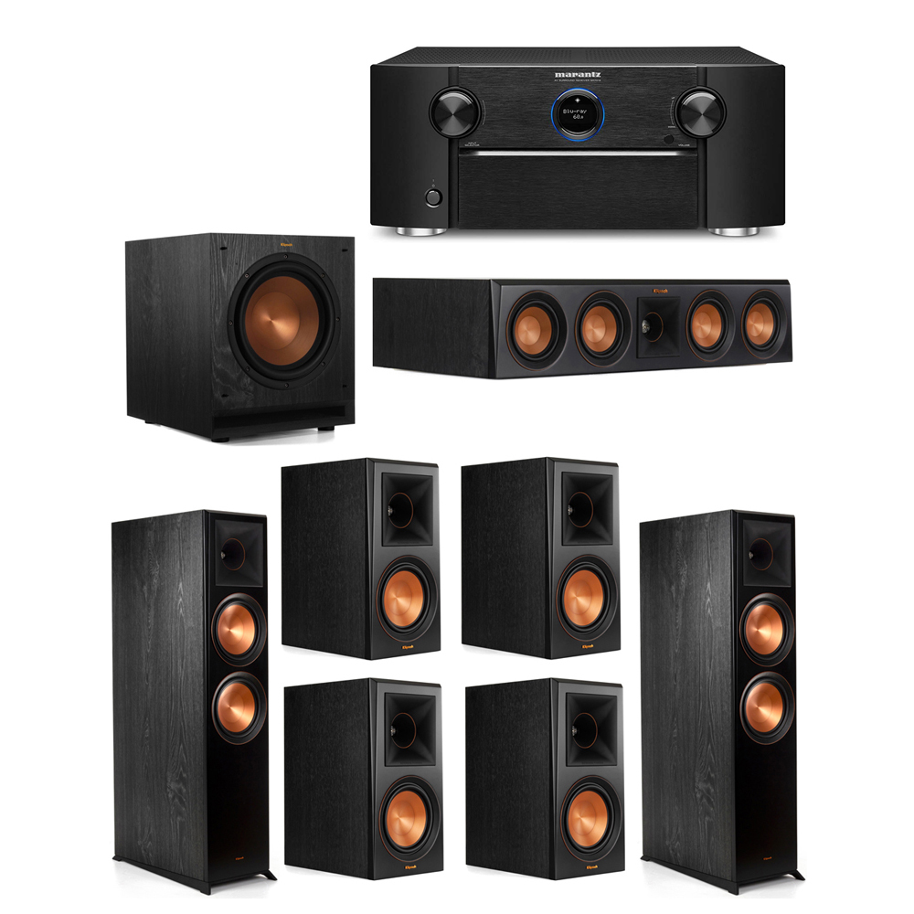 Klipsch 7.1 System with 2 RP-8000F Floorstanding Speakers, 1 Klipsch RP-404C Center Speaker, 4 Klipsch RP-600M Surround Speakers, 1 Klipsch SPL-100 Subwoofer, 1 Marantz SR7012 A/V Receiver