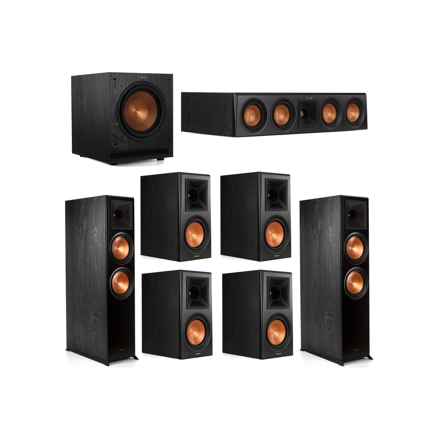 Klipsch 7.1 System with 2 RP-8000F Floorstanding Speakers, 1 Klipsch RP-404C Center Speaker, 4 Klipsch RP-600M Surround Speakers, 1 Klipsch SPL-100 Subwoofer
