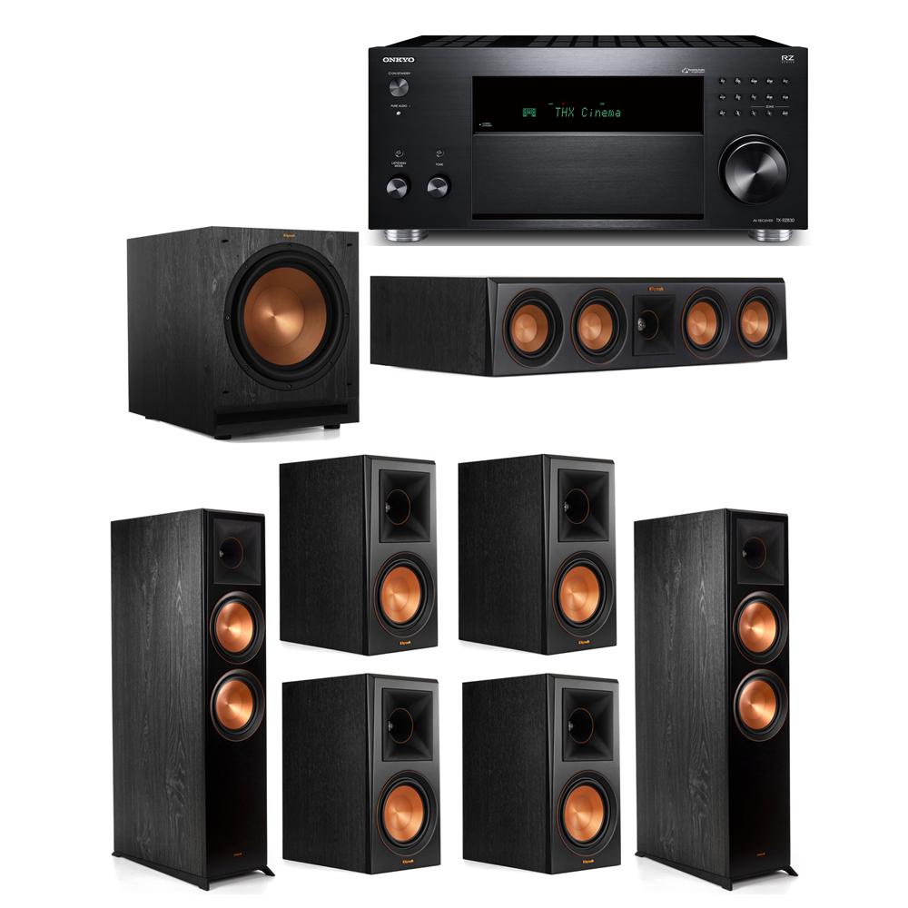 Klipsch 7.1 System with 2 RP-8000F, 1 RP-404C, 4 RP-600M, 1 SPL-120, 1 Onkyo TX-RZ830 Receiver