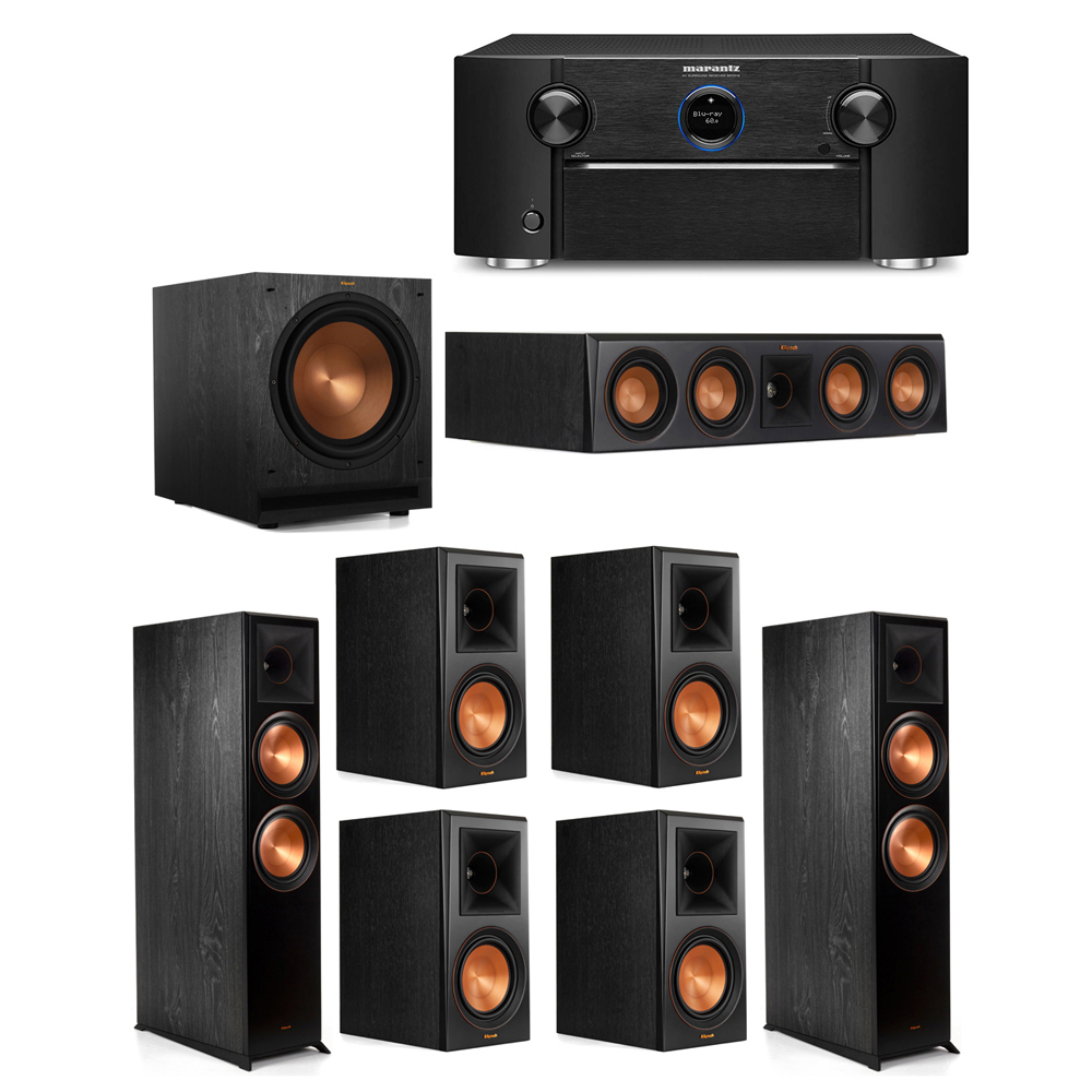Klipsch 7.1 System with 2 RP-8000F Floorstanding Speakers, 1 Klipsch RP-404C Center Speaker, 4 Klipsch RP-600M Surround Speakers, 1 Klipsch SPL-120 Subwoofer, 1 Marantz SR7012 A/V Receiver