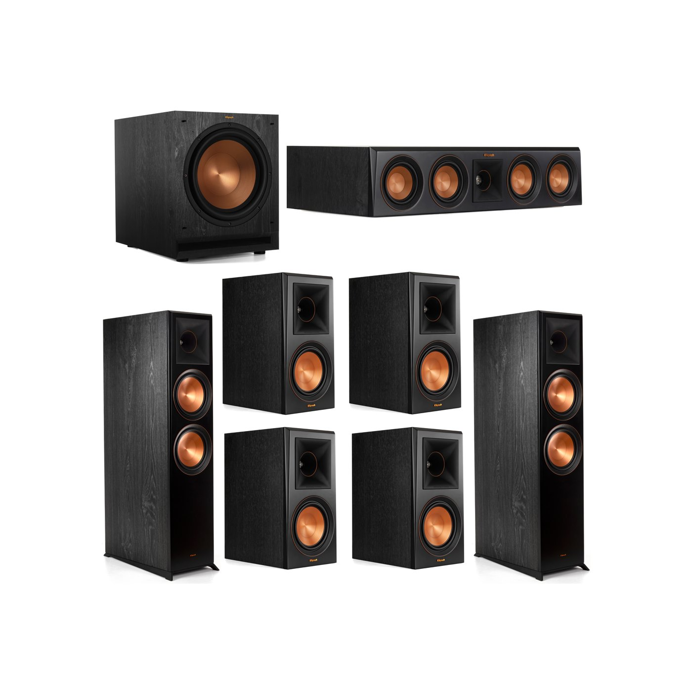 Klipsch 7.1 System with 2 RP-8000F Floorstanding Speakers, 1 Klipsch RP-404C Center Speaker, 4 Klipsch RP-600M Surround Speakers, 1 Klipsch SPL-120 Subwoofer
