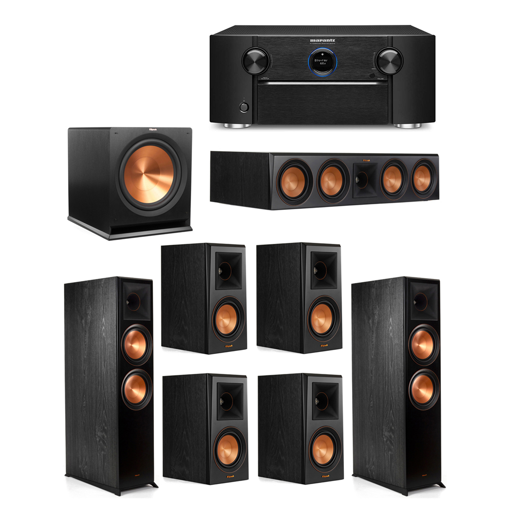 Klipsch 7.1 System with 2 RP-8000F Floorstanding Speakers, 1 Klipsch RP-504C Center Speaker, 4 Klipsch RP-500M Surround Speakers, 1 Klipsch R-115SW Subwoofer, 1 Marantz SR7012 A/V Receiver