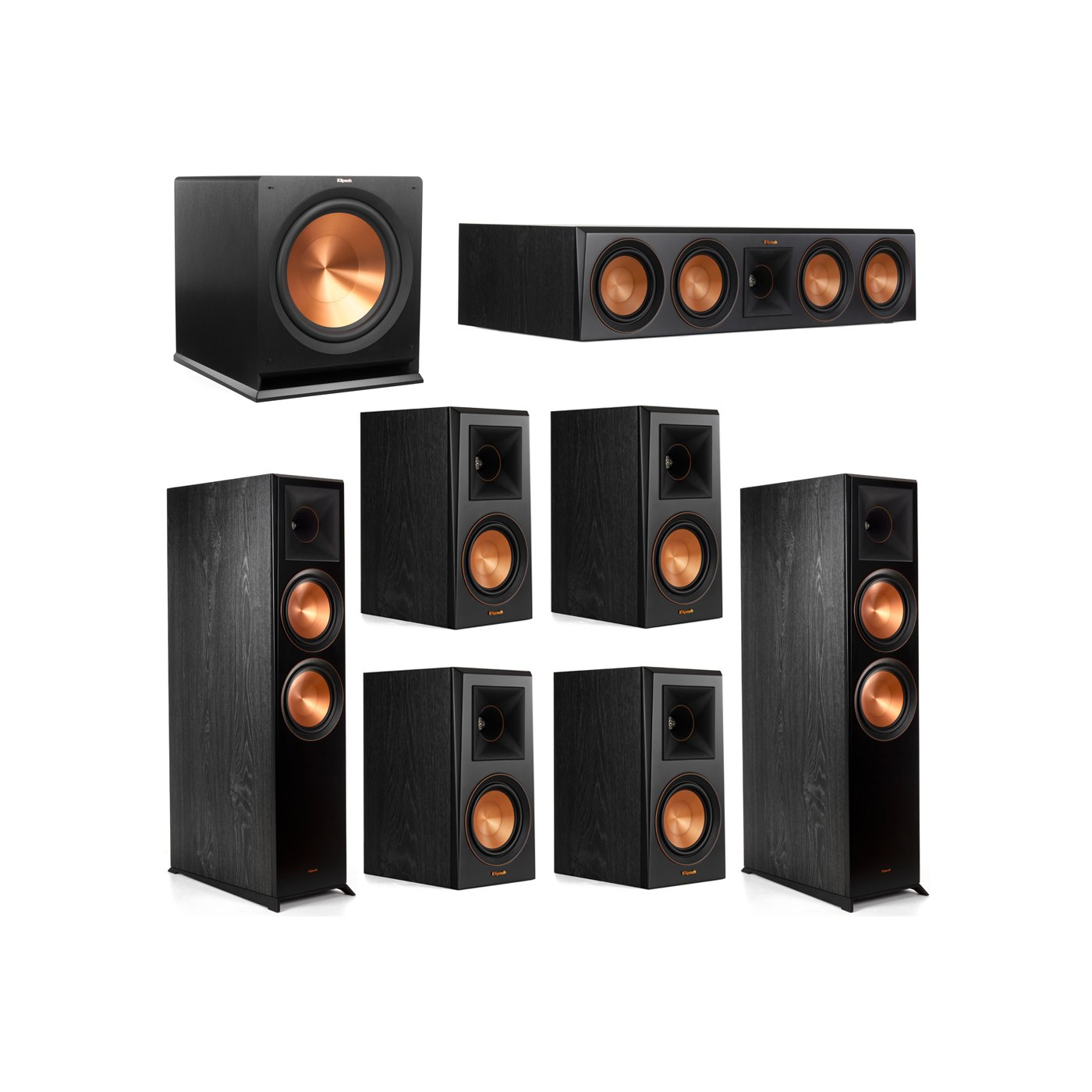 Klipsch 7.1 System with 2 RP-8000F Floorstanding Speakers, 1 Klipsch RP-504C Center Speaker, 4 Klipsch RP-500M Surround Speakers, 1 Klipsch R-115SW Subwoofer