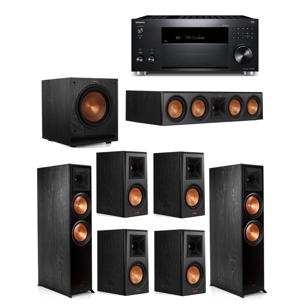 Klipsch 7.1 System with 2 RP-8000F,  1 RP-504C, 4 RP-500M, 1 SPL-100, 1 Onkyo TX-RZ830 Receiver