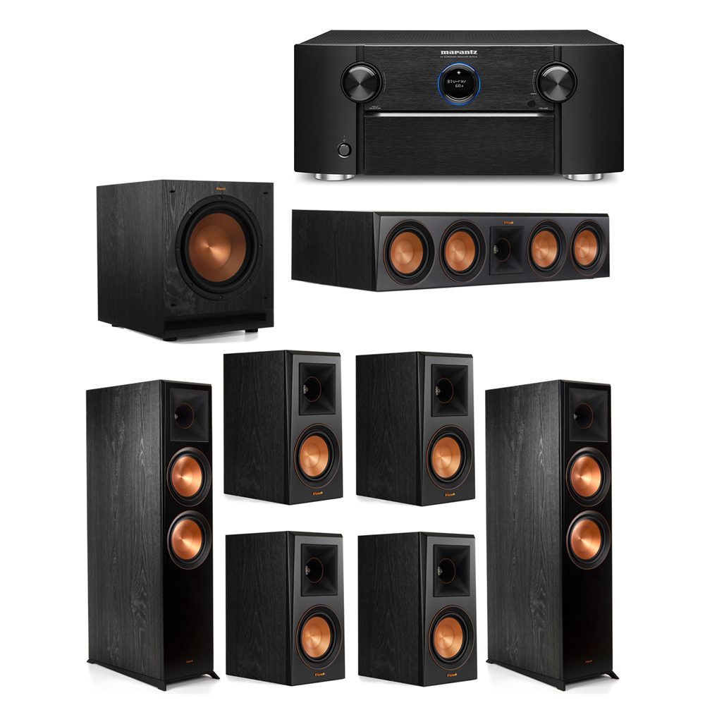 Klipsch 7.1 System with 2 RP-8000F Floorstanding Speakers, 1 Klipsch RP-504C Center Speaker, 4 Klipsch RP-500M Surround Speakers, 1 Klipsch SPL-100 Subwoofer, 1 Marantz SR7012 A/V Receiver