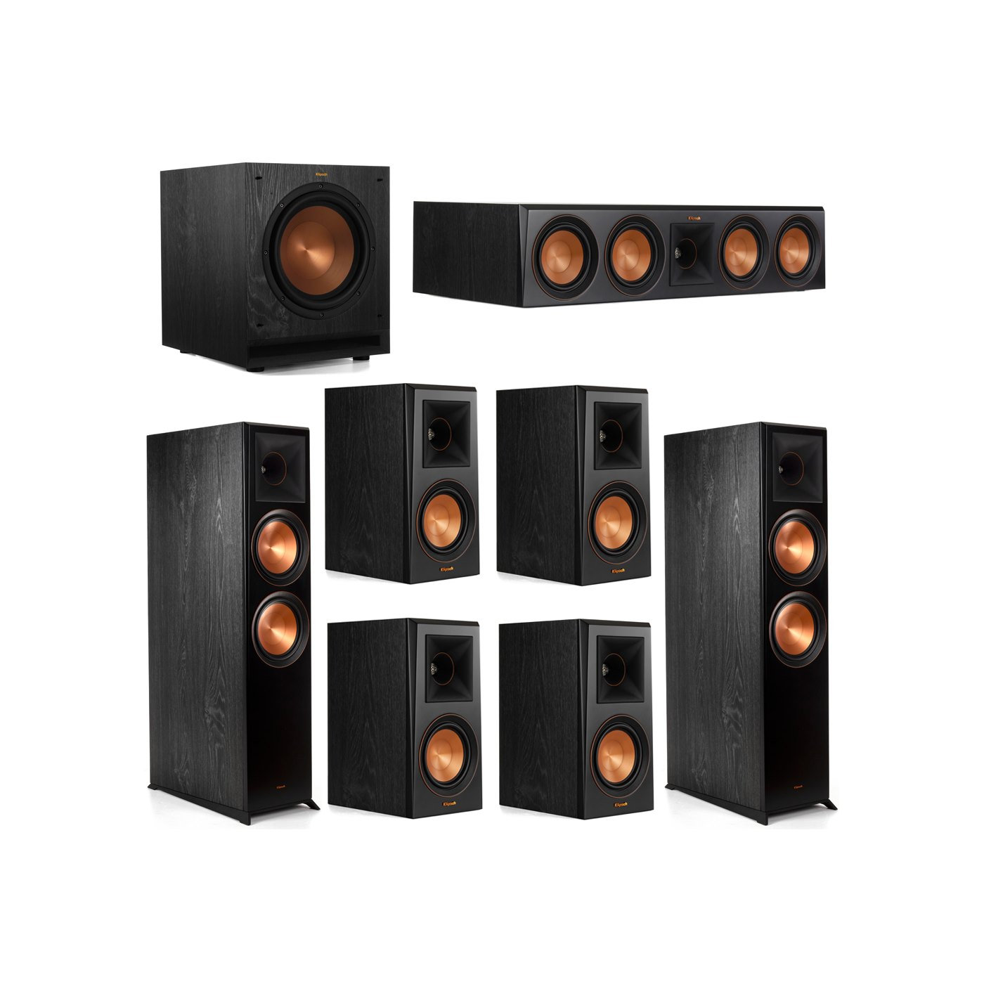 Klipsch 7.1 System with 2 RP-8000F Floorstanding Speakers, 1 Klipsch RP-504C Center Speaker, 4 Klipsch RP-500M Surround Speakers, 1 Klipsch SPL-100 Subwoofer
