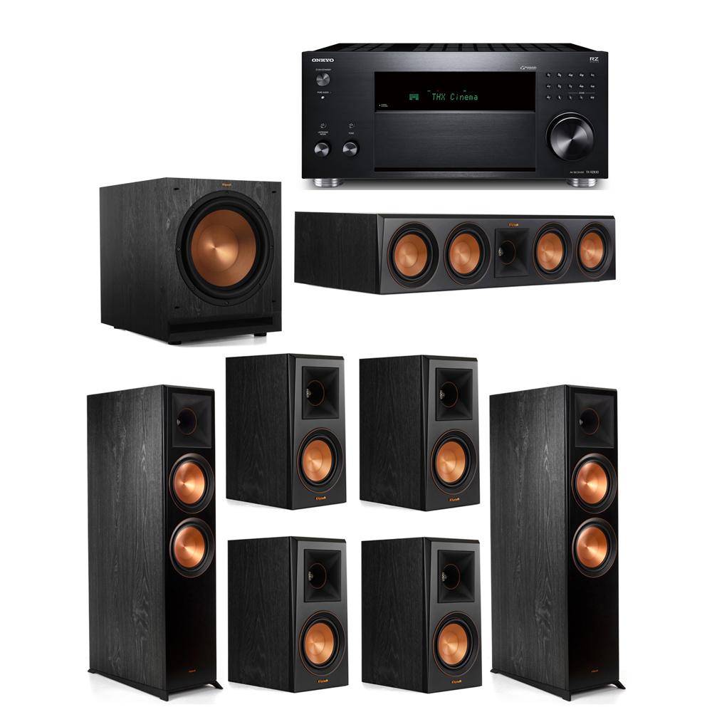 Klipsch 7.1 System with 2 RP-8000F,  1 RP-504C, 4 RP-500M, 1 SPL-120, 1 Onkyo TX-RZ830 Receiver