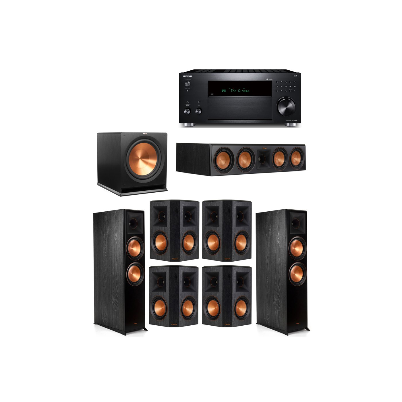 Klipsch 7.1 System with 2 RP-8000F,  1 RP-504C, 4 RP-502S, 1 R-115SW,  1 Onkyo TX-RZ830 Receiver