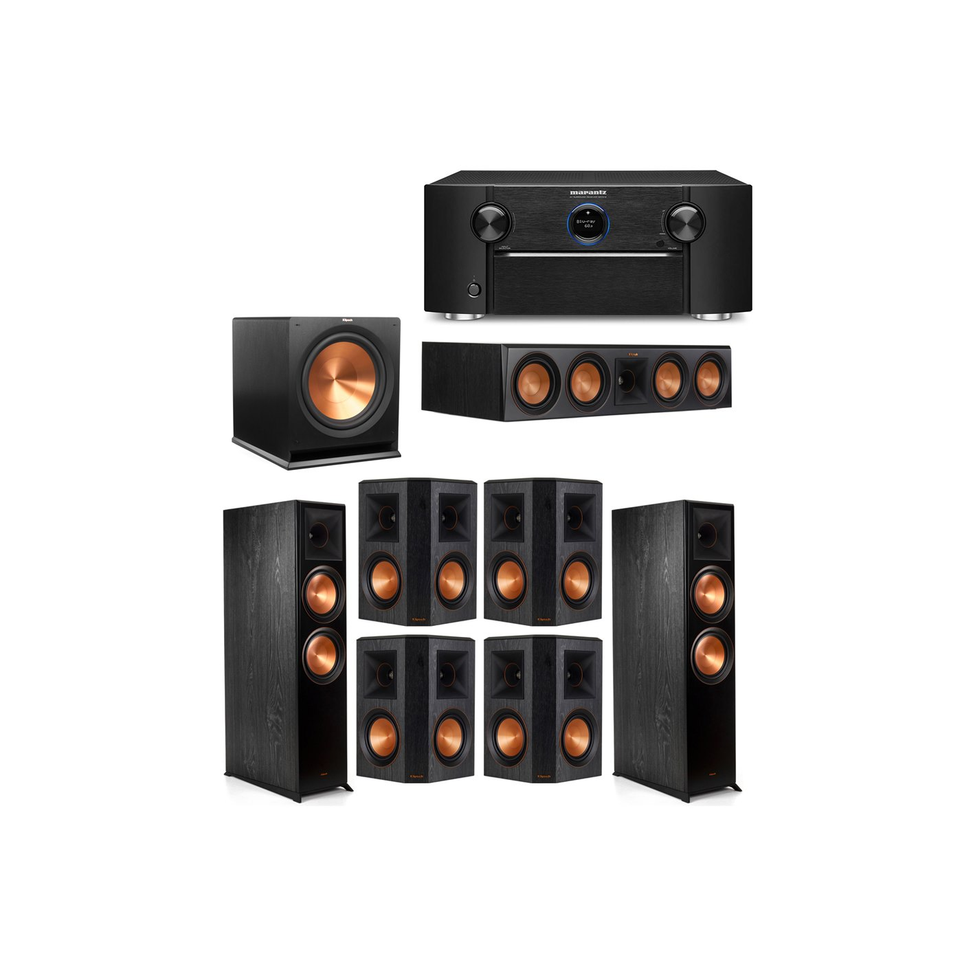 Klipsch 7.1 System with 2 RP-8000F Floorstanding Speakers, 1 Klipsch RP-504C Center Speaker, 4 Klipsch RP-502S Surround Speakers, 1 Klipsch R-115SW Subwoofer, 1 Marantz SR7012 A/V Receiver