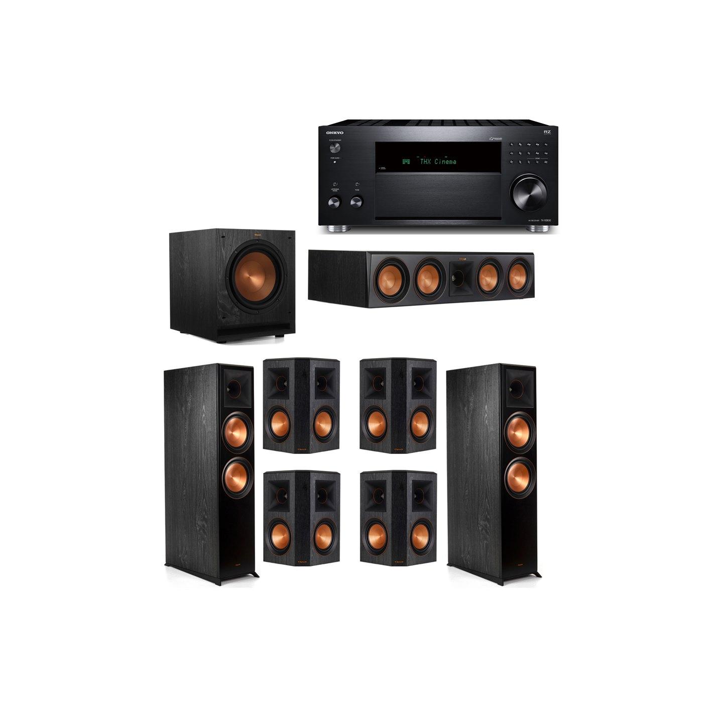 Klipsch 7.1 System with 2 RP-8000F,  1 RP-504C, 4 RP-502S, 1 SPL-100, 1 Onkyo TX-RZ830 Receiver