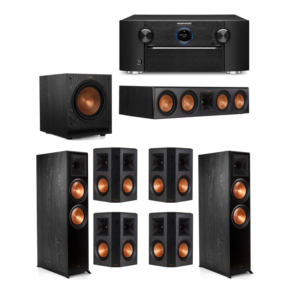 Klipsch 7.1 System with 2 RP-8000F Floorstanding Speakers, 1 Klipsch RP-504C Center Speaker, 4 Klipsch RP-502S Surround Speakers, 1 Klipsch SPL-100 Subwoofer, 1 Marantz SR7012 A/V Receiver