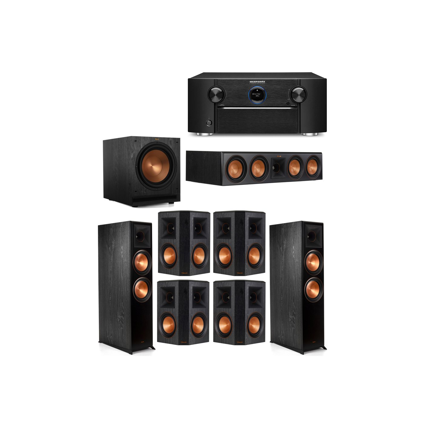 Klipsch 7.1 System with 2 RP-8000F Floorstanding Speakers, 1 Klipsch RP-504C Center Speaker, 4 Klipsch RP-502S Surround Speakers, 1 Klipsch SPL-120 Subwoofer, 1 Marantz SR7012 A/V Receiver