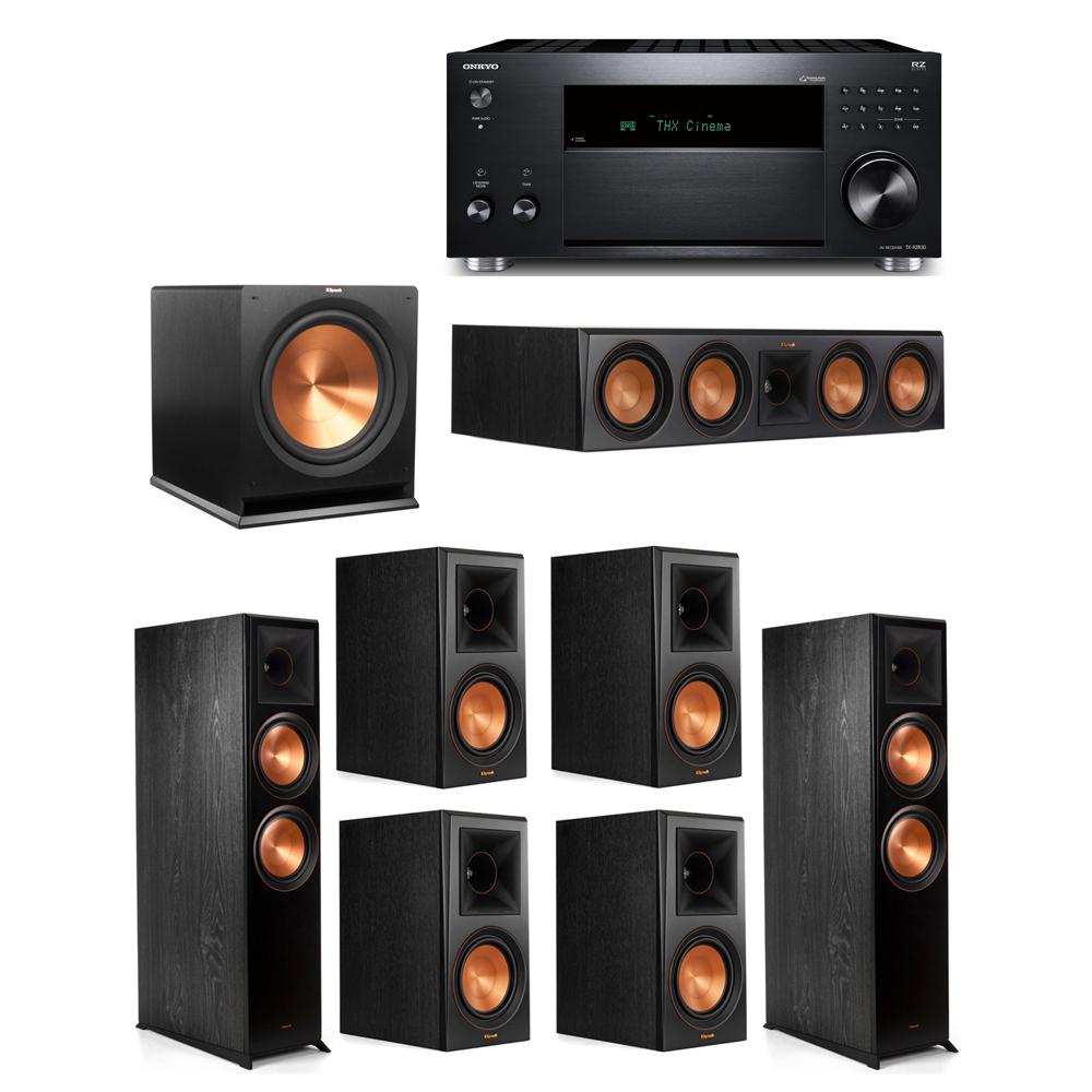 Klipsch 7.1 System with 2 RP-8000F,  1 RP-504C, 4 RP-600M, 1 R-115SW,  1 Onkyo TX-RZ830 Receiver
