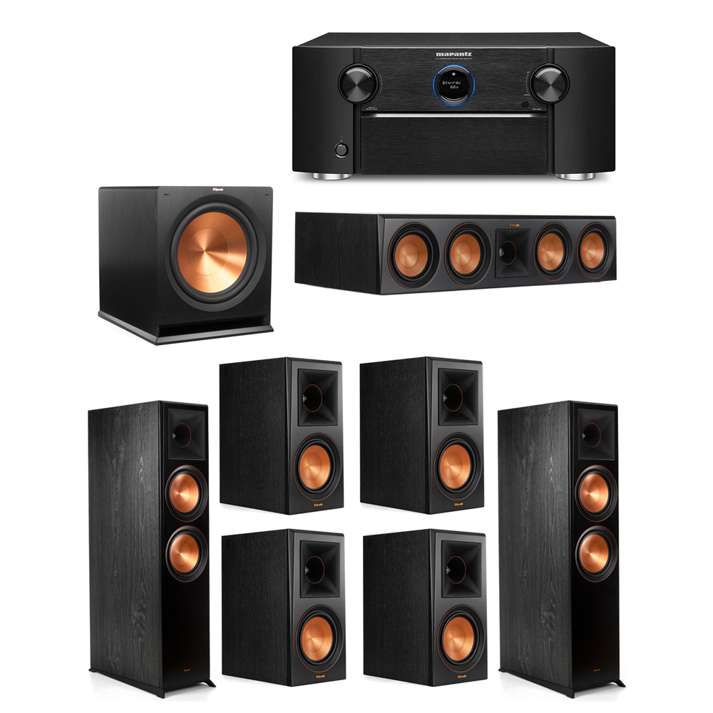 Klipsch 7.1 System with 2 RP-8000F Floorstanding Speakers, 1 Klipsch RP-504C Center Speaker, 4 Klipsch RP-600M Surround Speakers, 1 Klipsch R-115SW Subwoofer, 1 Marantz SR7012 A/V Receiver