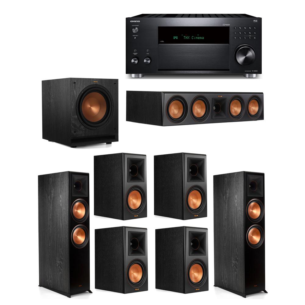 Klipsch 7.1 System with 2 RP-8000F,  1 RP-504C, 4 RP-600M, 1 SPL-100, 1 Onkyo TX-RZ830 Receiver