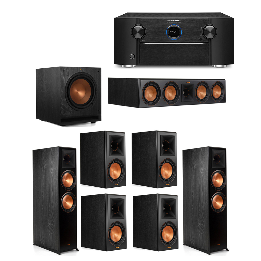 Klipsch 7.1 System with 2 RP-8000F Floorstanding Speakers, 1 Klipsch RP-504C Center Speaker, 4 Klipsch RP-600M Surround Speakers, 1 Klipsch SPL-100 Subwoofer, 1 Marantz SR7012 A/V Receiver