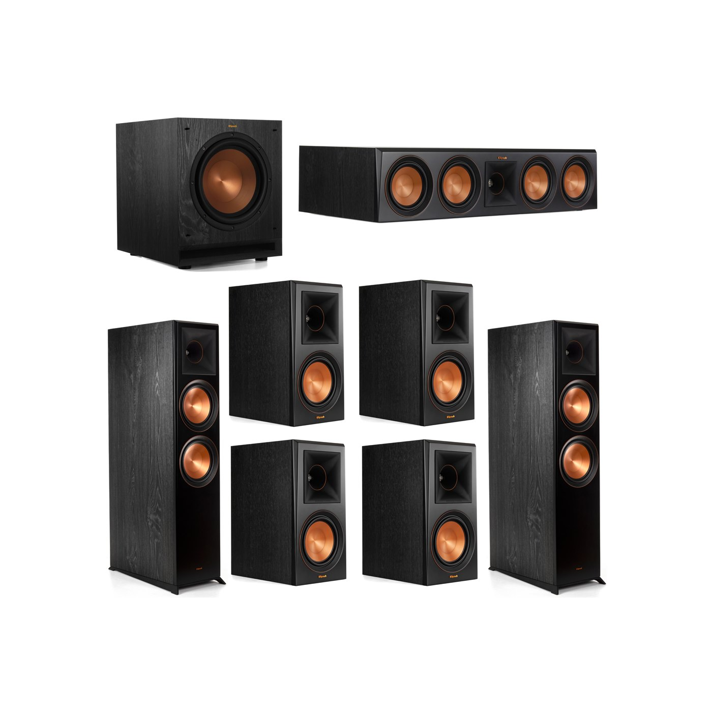 Klipsch 7.1 System with 2 RP-8000F Floorstanding Speakers, 1 Klipsch RP-504C Center Speaker, 4 Klipsch RP-600M Surround Speakers, 1 Klipsch SPL-100 Subwoofer