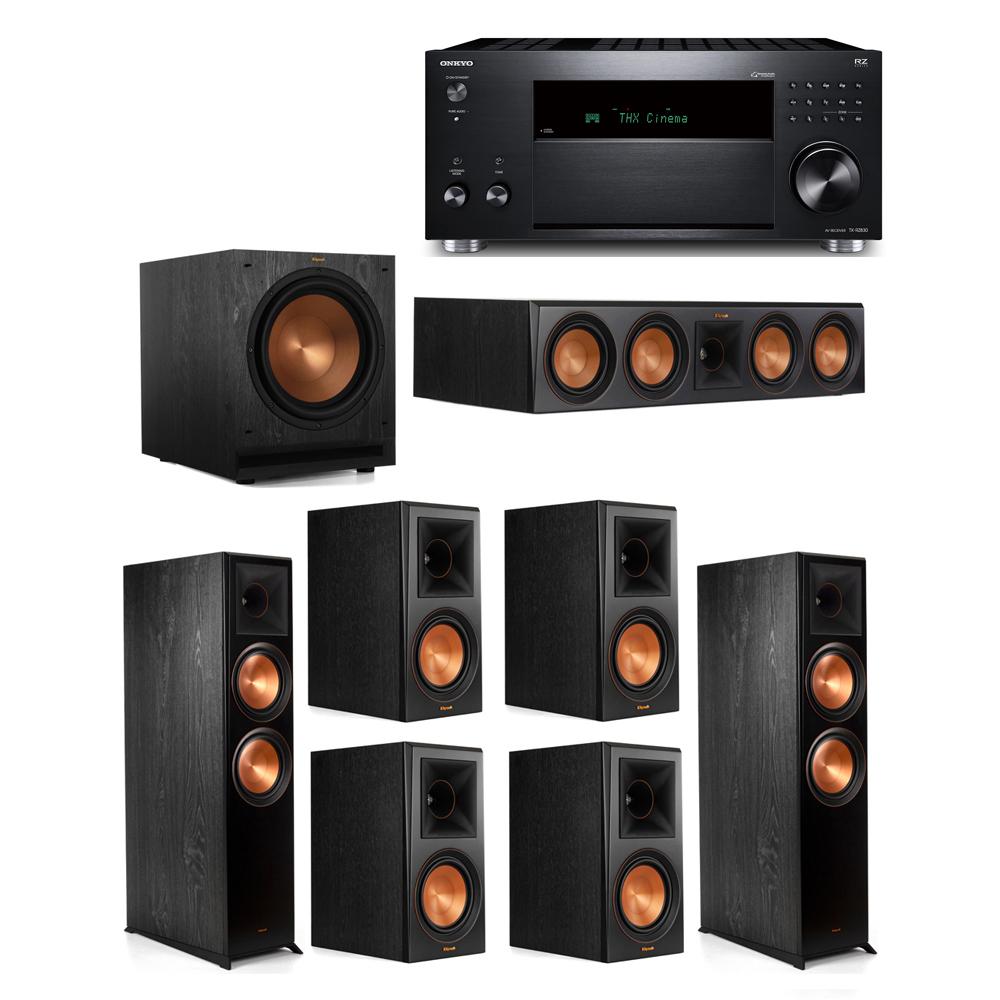 Klipsch 7.1 System with 2 RP-8000F,  1 RP-504C, 4 RP-600M, 1 SPL-120, 1 Onkyo TX-RZ830 Receiver