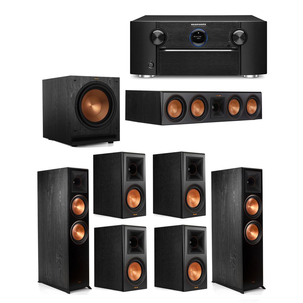 Klipsch 7.1 System with 2 RP-8000F Floorstanding Speakers, 1 Klipsch RP-504C Center Speaker, 4 Klipsch RP-600M Surround Speakers, 1 Klipsch SPL-120 Subwoofer, 1 Marantz SR7012 A/V Receiver