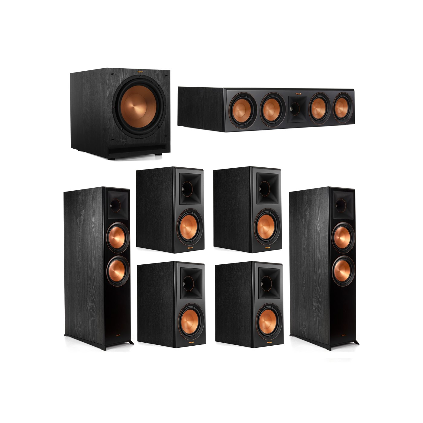 Klipsch 7.1 System with 2 RP-8000F Floorstanding Speakers, 1 Klipsch RP-504C Center Speaker, 4 Klipsch RP-600M Surround Speakers, 1 Klipsch SPL-120 Subwoofer