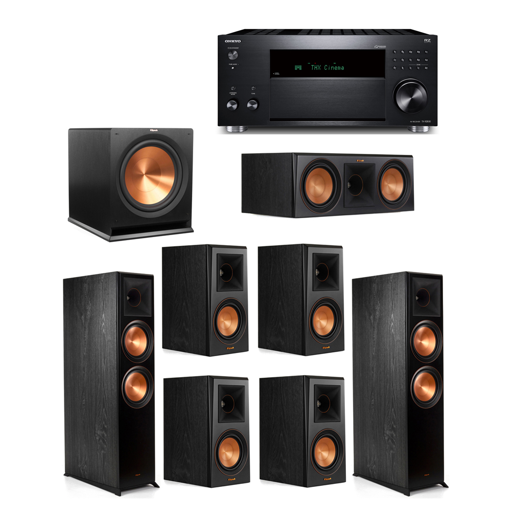 Klipsch 7.1 System with 2 RP-8000F, 1 RP-600C, 4 RP-500M, 1 R-115SW,  1 Onkyo TX-RZ830 Receiver