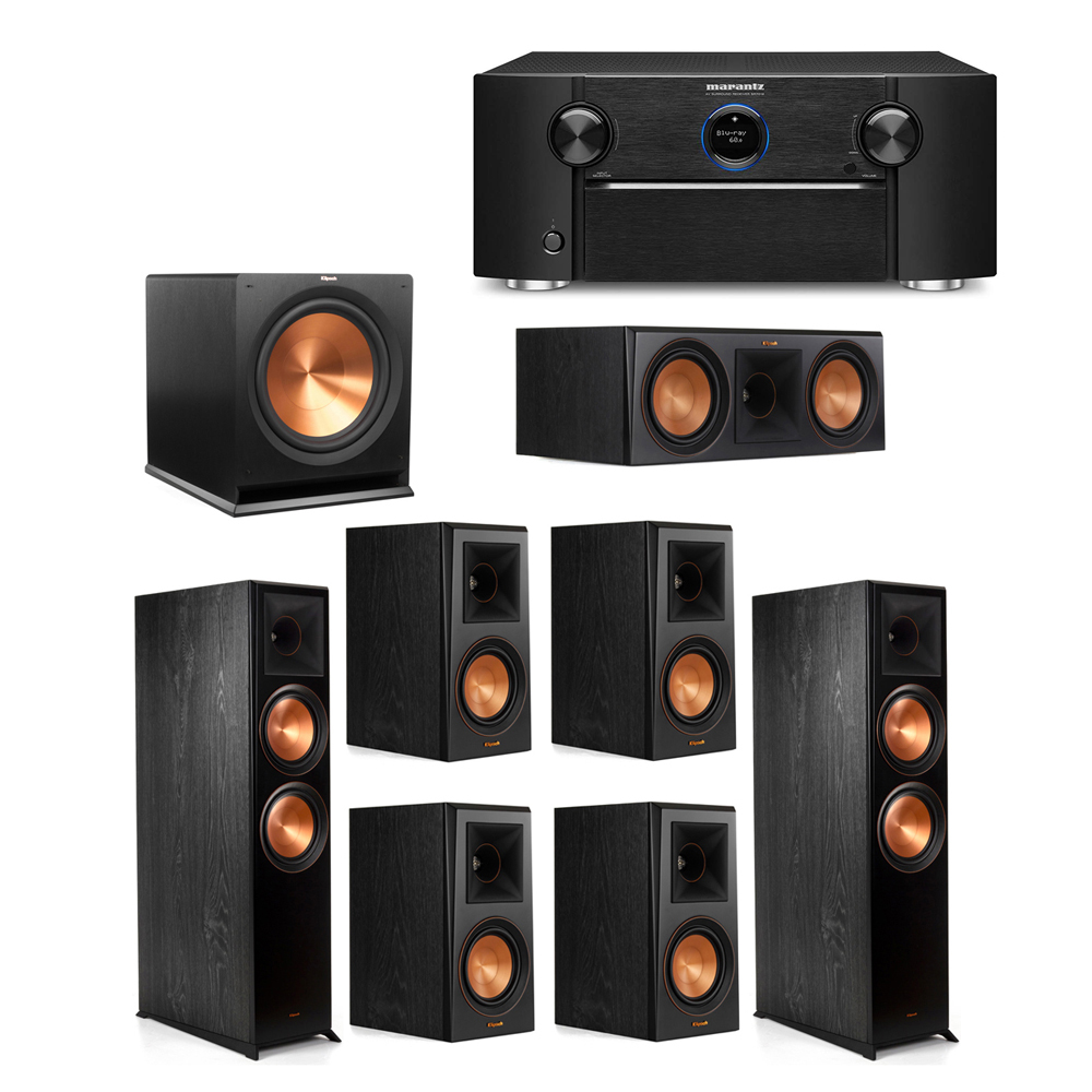 Klipsch 7.1 System with 2 RP-8000F Floorstanding Speakers, 1 Klipsch RP-600C Center Speaker, 4 Klipsch RP-500M Surround Speakers, 1 Klipsch R-115SW Subwoofer, 1 Marantz SR7012 A/V Receiver