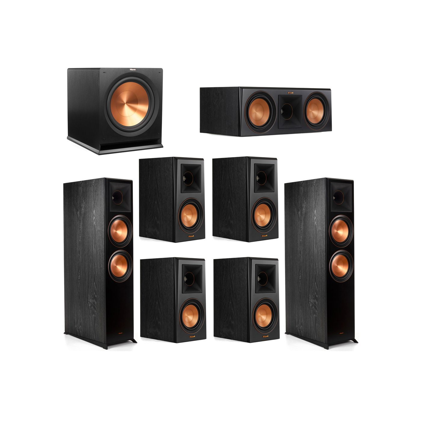 Klipsch 7.1 System with 2 RP-8000F Floorstanding Speakers, 1 Klipsch RP-600C Center Speaker, 4 Klipsch RP-500M Surround Speakers, 1 Klipsch R-115SW Subwoofer