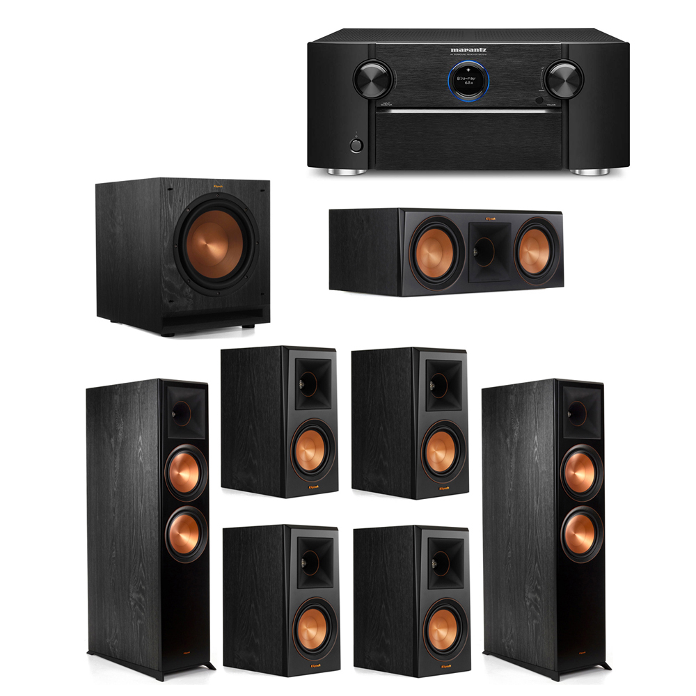 Klipsch 7.1 System with 2 RP-8000F Floorstanding Speakers, 1 Klipsch RP-600C Center Speaker, 4 Klipsch RP-500M Surround Speakers, 1 Klipsch SPL-100 Subwoofer, 1 Marantz SR7012 A/V Receiver