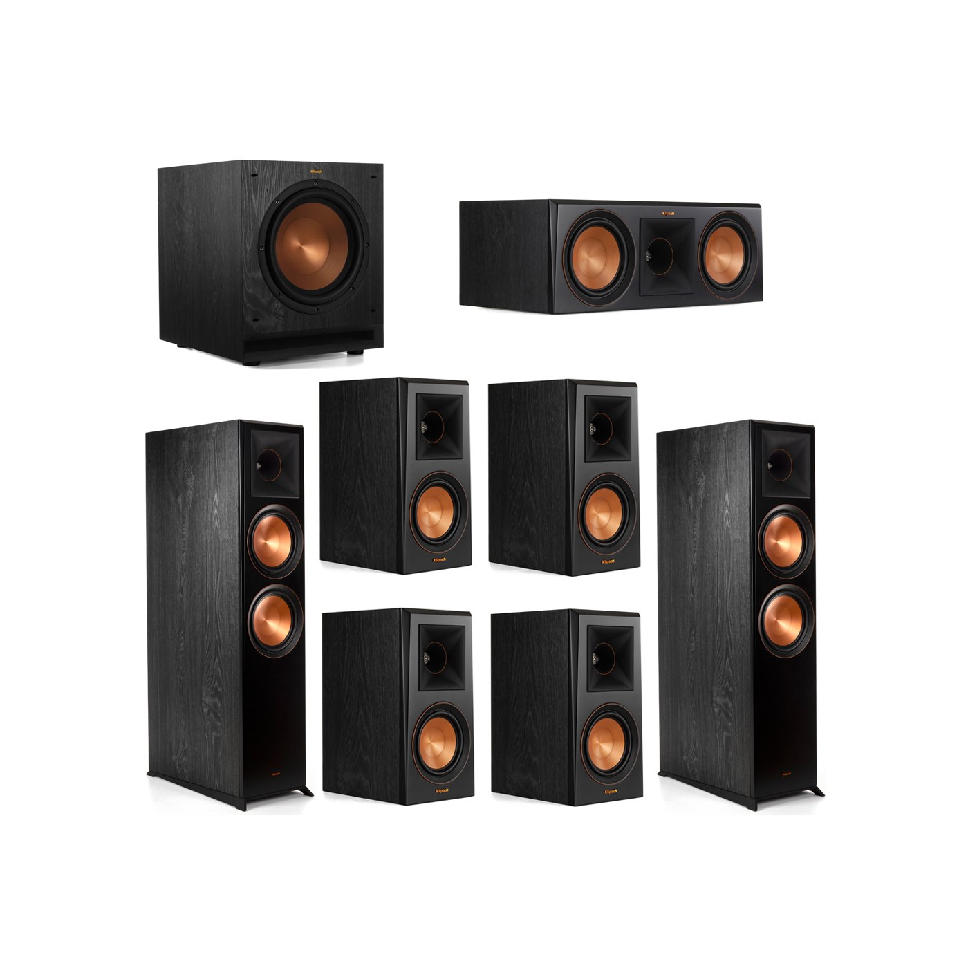 Klipsch 7.1 System with 2 RP-8000F Floorstanding Speakers, 1 Klipsch RP-600C Center Speaker, 4 Klipsch RP-500M Surround Speakers, 1 Klipsch SPL-100 Subwoofer