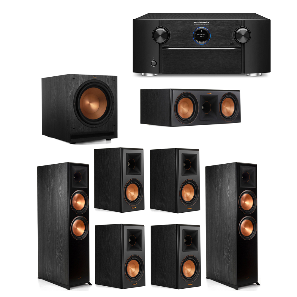 Klipsch 7.1 System with 2 RP-8000F Floorstanding Speakers, 1 Klipsch RP-600C Center Speaker, 4 Klipsch RP-500M Surround Speakers, 1 Klipsch SPL-120 Subwoofer, 1 Marantz SR7012 A/V Receiver
