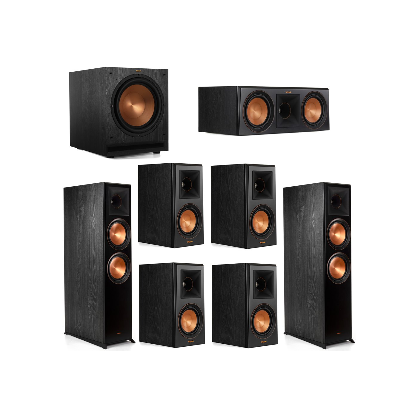 Klipsch 7.1 System with 2 RP-8000F Floorstanding Speakers, 1 Klipsch RP-600C Center Speaker, 4 Klipsch RP-500M Surround Speakers, 1 Klipsch SPL-120 Subwoofer
