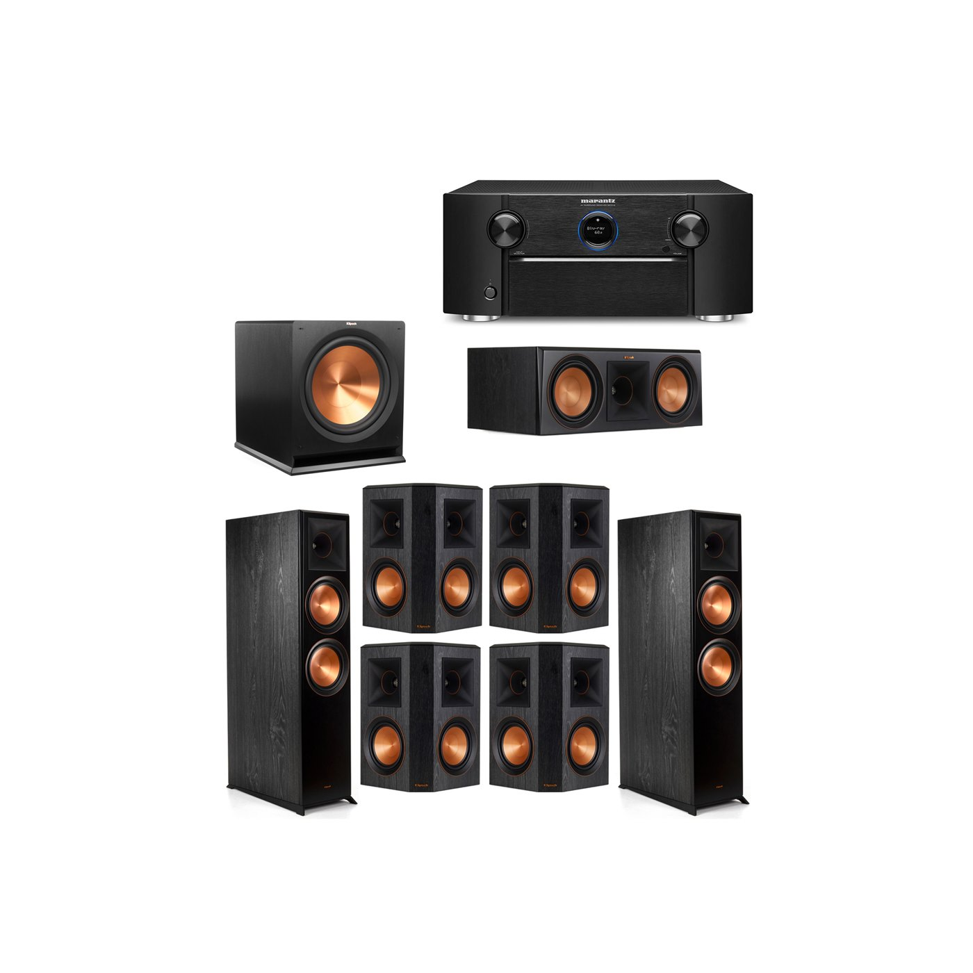 Klipsch 7.1 System with 2 RP-8000F Floorstanding Speakers, 1 Klipsch RP-600C Center Speaker, 4 Klipsch RP-502S Surround Speakers, 1 Klipsch R-115SW Subwoofer, 1 Marantz SR7012 A/V Receiver
