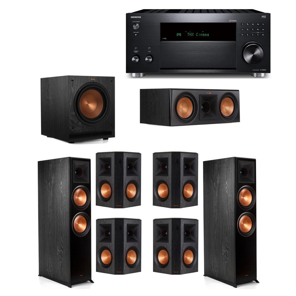Klipsch 7.1 System with 2 RP-8000F, 1 RP-600C, 4 RP-502S, 1 SPL-100, 1 Onkyo TX-RZ830 Receiver