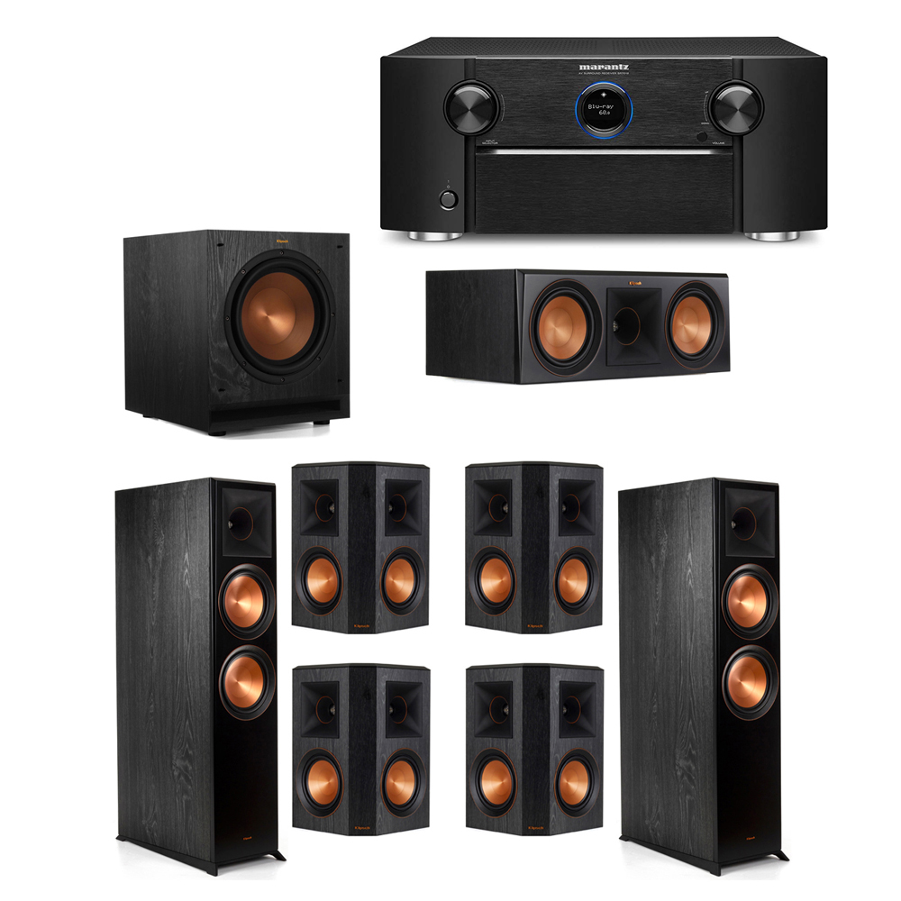 Klipsch 7.1 System with 2 RP-8000F Floorstanding Speakers, 1 Klipsch RP-600C Center Speaker, 4 Klipsch RP-502S Surround Speakers, 1 Klipsch SPL-100 Subwoofer, 1 Marantz SR7012 A/V Receiver