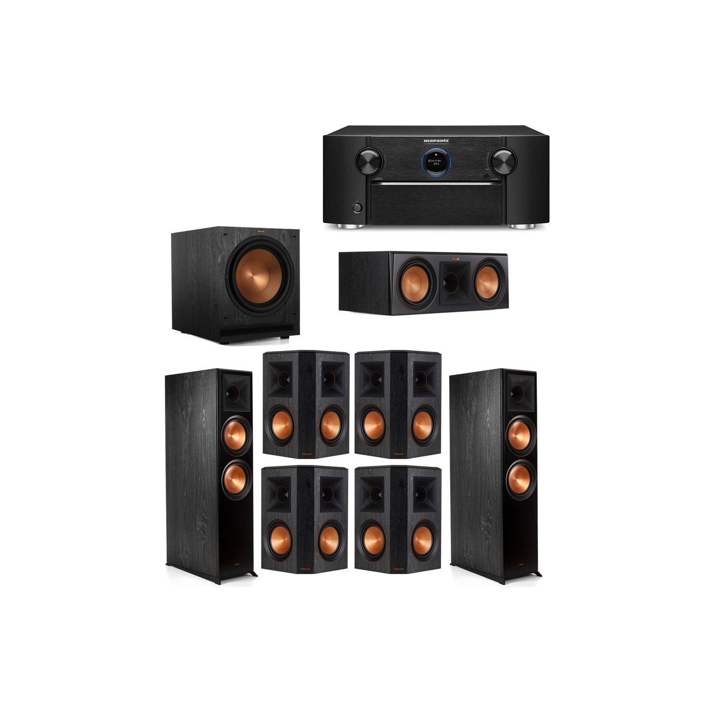 Klipsch 7.1 System with 2 RP-8000F Floorstanding Speakers, 1 Klipsch RP-600C Center Speaker, 4 Klipsch RP-502S Surround Speakers, 1 Klipsch SPL-120 Subwoofer, 1 Marantz SR7012 A/V Receiver