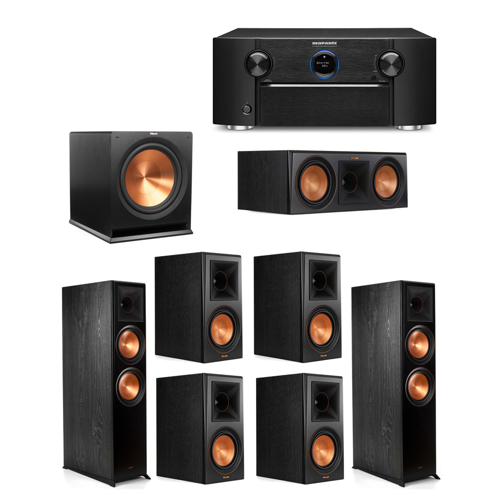 Klipsch 7.1 System with 2 RP-8000F Floorstanding Speakers, 1 Klipsch RP-600C Center Speaker, 4 Klipsch RP-600M Surround Speakers, 1 Klipsch R-115SW Subwoofer, 1 Marantz SR7012 A/V Receiver